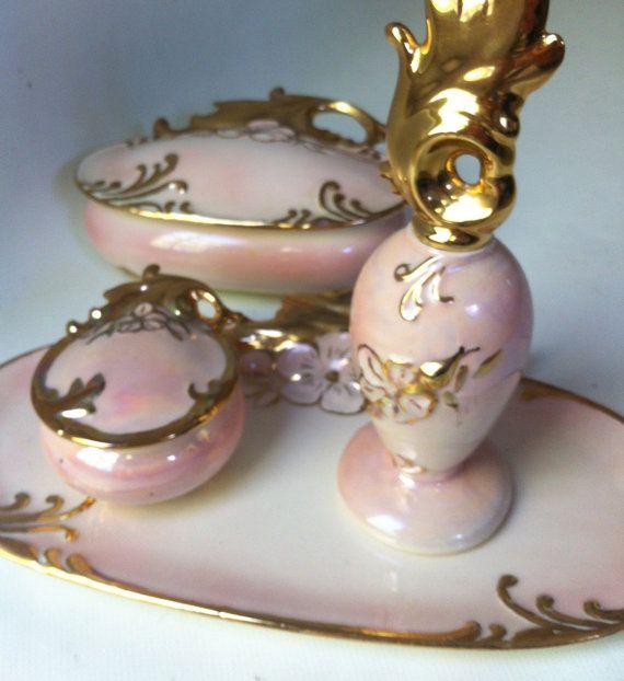 Porcelain Vanity Set Pink Gold Hollywood Regency Mallory Ceramics Studio Jamar