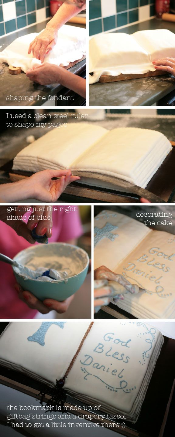 Bible Cake – DIY  Written By: Ella - Jun• 16•10  Pin it    We make our own cakes. Always. Whether it's a theme cake for a Birthday or just a regular carrot cake. I'm not a skilled baker, so I leave the baking to my mom, and I grab the coupler (I even had to look the name of that up – I would have said the frosting squeezer otherwise ;P, anyway, I grab it like it's my paintbrush and add the finishing details. But first, let me explain some of the steps.    bible-cake diy easy instructionsI…