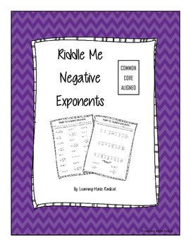 Exponent Rule - Negative Exponent Riddle Me Worksheet Have you been ...