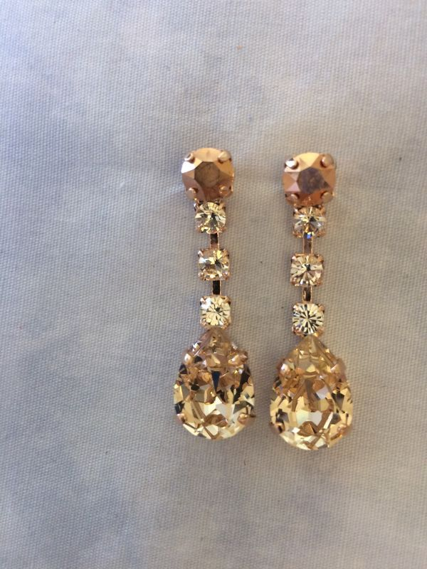 4e2ecdb2e4b777 Swarovski Crystal Rose Gold Dangle Tear Drop Earrings in 2018 | The Crystal  Rose Bridal Jewelry http://www.the-crystal-rose.com | Pinterest | Swarovski,  ...