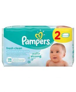 Влажные салфетки Pampers Baby fresh duo (Памперс Беби фреш дуо) сменный блок 2х64 шт.