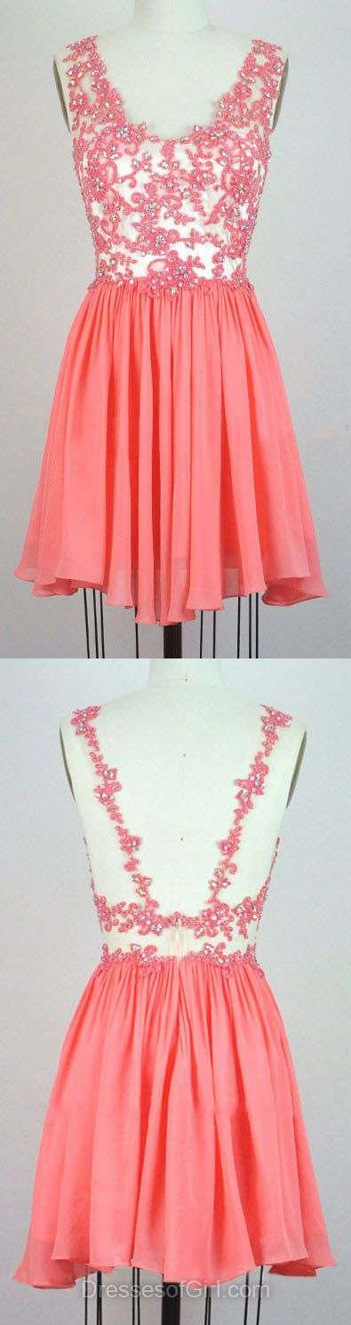 V-neck Homecoming Dresses, Chiffon Summer Dresses, Short Prom Dresses, Beading Cocktail Dress, Cute Party Gowns