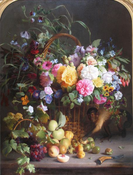 'Still life of Flowers with a Monkey' by FRANCOIS ANTOINE DE BRUYCKER Found in the archive of Cider House Galleries in Bletchingley - a remarkable gallery full of fabulous treasures such as this.  As if the arrangement of the flowers in and around the basket, plus the perfect placement of the light, were not lesson enough to all aspiring painters and still life photographers, de Bruycker then adds the playful element of the monkey, setting his flower and fruit still life apart from all…