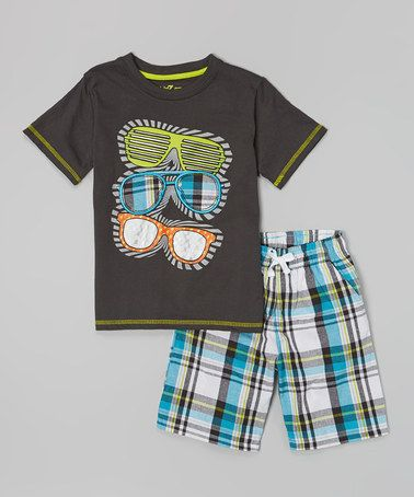 Look what I found on #zulily! Charcoal Sunglasses Tee & Plaid Shorts - Infant, Toddler & Boys #zulilyfinds