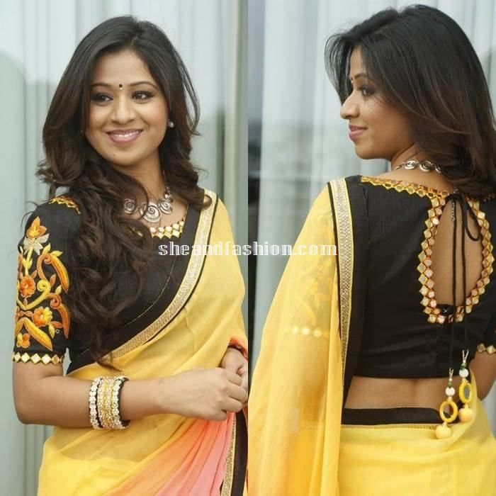 Manali rathod in yellow mirror work saree and boat neck blouse