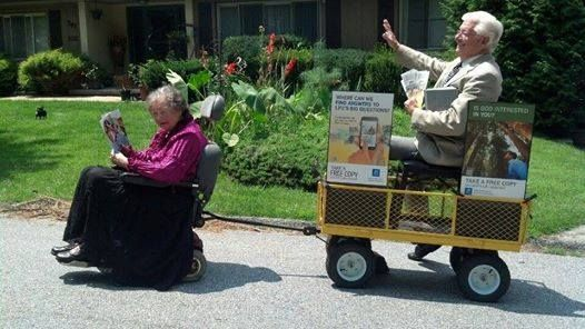 This is so adorable! Spreading the good news no matter what age or infirmity. Just love their dedication.