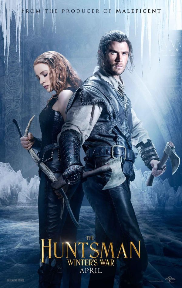 The Huntsman Poster featuring Jessica Chastain as the Warrior and Chris Hemsworth as the Huntsman from The Huntsman Winter's War. These two look to both be captured in ice now.