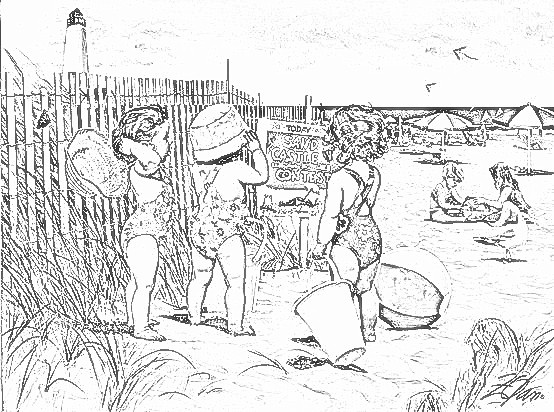 Children At The Beach Coloring Page
