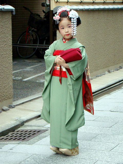 Kyoto: I have a picture of my daughter at this same age in one of these kimonos from when we lived in Japan. It takes a while to put on :)