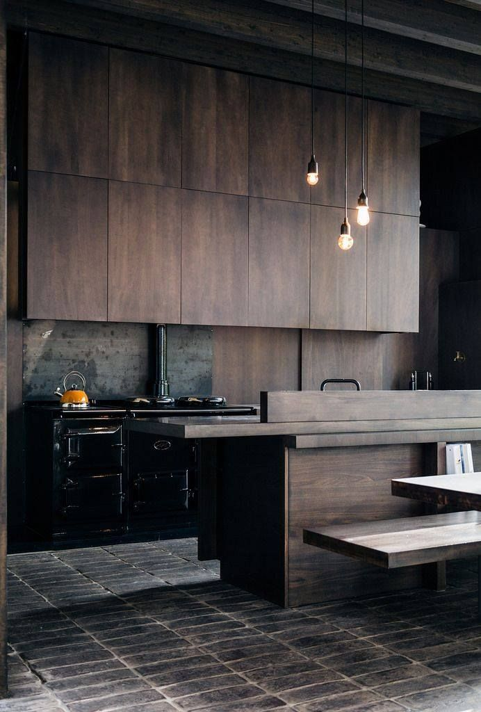 Dark Wood Inside Stylish Kitchen Kitchen Interior Kitchen Design