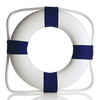 We love these small (13-inch) life preservers, $16, by Berkeley Designs, berkeleydesigns.com. Incorporate them into your decor by hanging them on the doors at your reception site, using them as chair decorations for the bride and groom, or adding them to centerpieces by setting floral arrangements inside them. Customize them with your names, your new monogram or a saying like Welcome aboard.