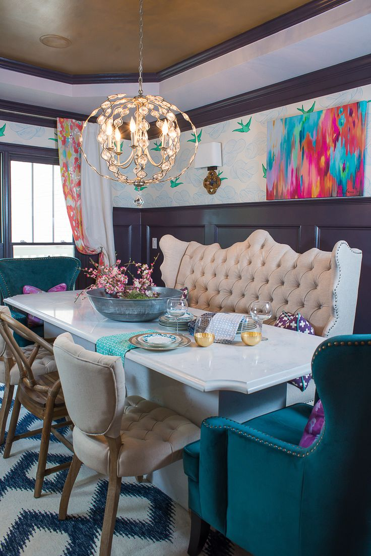 """Get """"Dining Room Chic"""" with a mixture of prints, colors and fun accessories that create a truly unique and eclectic space."""