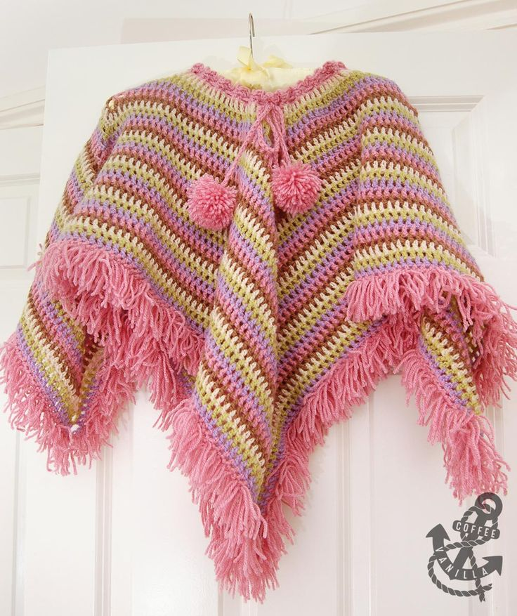 Extremely Easy Kids' Crochet Poncho with Tear Drop Corner: free crochet pattern