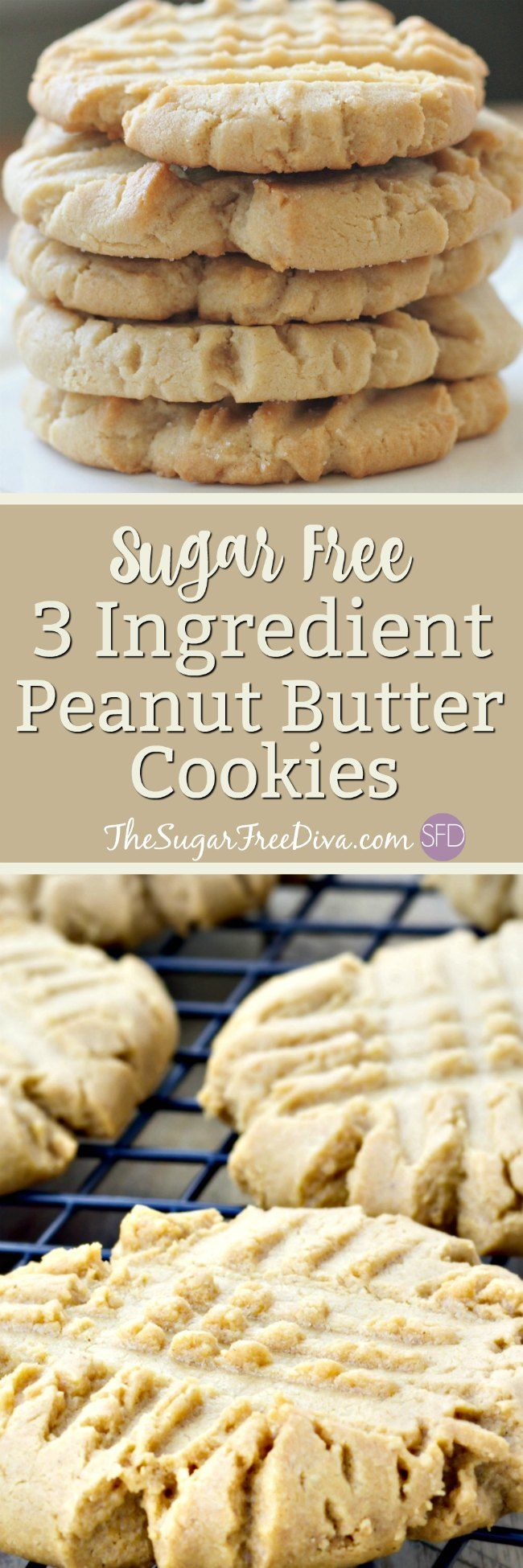3 Ingredient Sugar Free Peanut Butter Cookies--Hey- check out these cookies. The recipe for these peanut butter cookies has only three ingredients in it. You should see what those ingredients are in these peanut butter cookies that are a great snack or dessert. They are also gluten and sugar free. #cookie #cookies #sugarfree #dessert