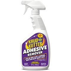 Krud Kutter® Adhesive Remover is a water-based, biodegradable formula that is a safe, effective alternative to hazardous, solvent-based adhesive removers. Removes most glues and adhesives, carpet seam sealer, and mastic. Also removes dirt, grease, grime, heel marks, and floor wax. Not recommended for varnished surfaces.