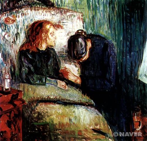 병든 아이_에르바르드 뭉크_캔버스에 유채_1885~1886년_119.5×118.5cm_노르웨이 오슬로 국립미술관  이 작품이 처음 전시되었을 때는 많은 논란이 있었다고 한다. 이 그림이 미완성의 작품이라고 논란이 있었던 것이다. 그 이유는 그림에 칼자국이 있고 그림을 지우고 다시 칠한 많은 자국이 있기 때문이다 그러나 이는 뭉크의 또 하나의 고뇌의 표현이라고 볼 수 있을 것 같다. 그녀의 어머니가 죽은 뒤에 그의 누이가 똑같은 병으로 죽으니 뭉크는 제 정신이 아니었을 것이다. 그의 죽음에 대한 고뇌, 고독, 절망, 죽음에 대한 고뇌가 그의 그림과 그의 표현기법에서도 잘 나타난 것 같다. 이 그림을 보며 나 또한 죽음, 고독에 대한 고뇌를 하게 될만큼 이 그림은 매우 슬펐고 그가 그의 고뇌를 잘 표현한 것 같다.