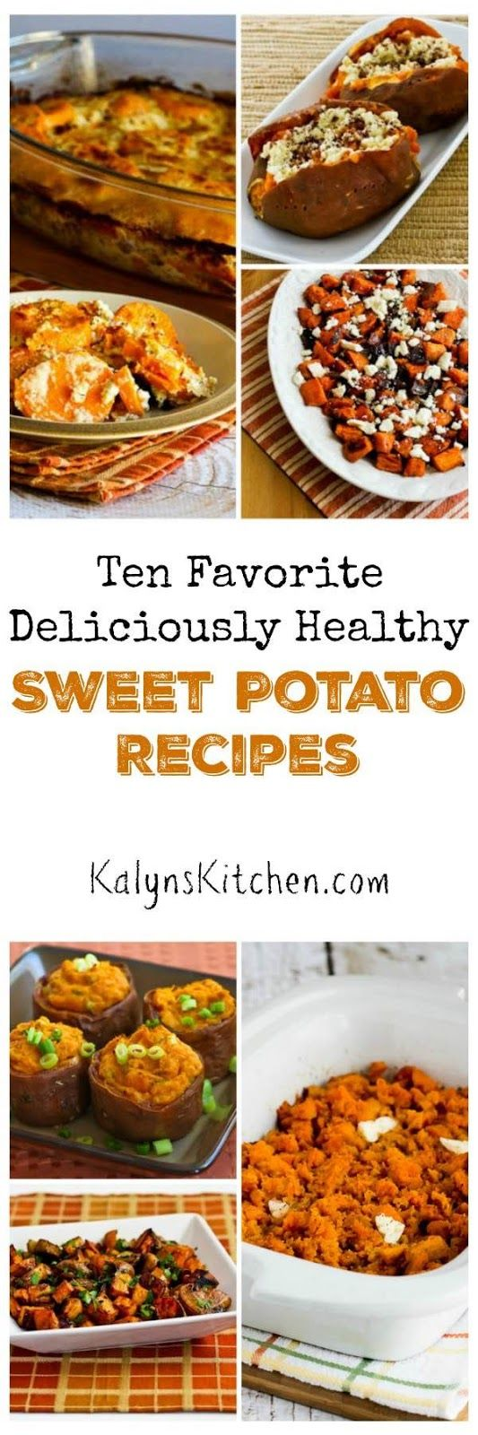 I'm a big fan of savory sweet potato dishes, and here are my Ten Favorite Deliciously Healthy Sweet Potato Recipes. All these recipes are perfect for a holiday meal, but I eat sweet potatoes all winter long! [found on KalynsKitchen.com] http://www.youtube.com/watch?v=Z_-vfrTjY84