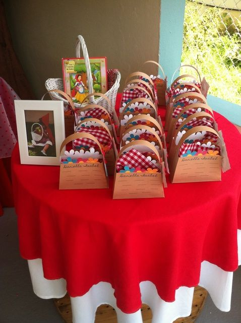 Cute favor baskets at a Little Red Riding Hood Birthday Party!  See more party ideas at CatchMyParty!