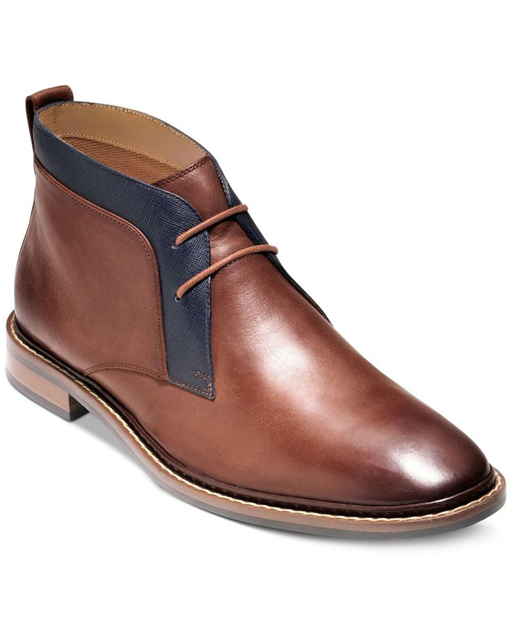 Cole Haan adds a burnished toe to these classic chukka boots for an updated look…