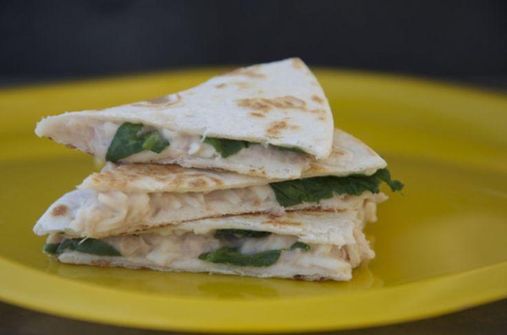 Tuna, White Bean and Spinach Quesadilla (Freezer-friendly)