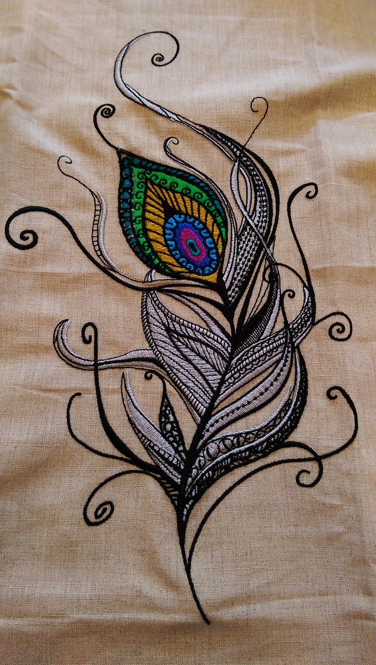 Full Peacock feather embroidery