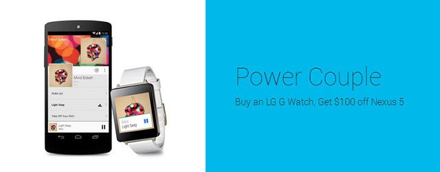 Good Deal: Buy an LG G Watch and get $100 off a Nexus 5 on Google Play