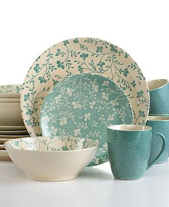 Sango Dinnerware, Fresh Flowers Aqua 16 Piece Set - Tableware Sets - Dining…