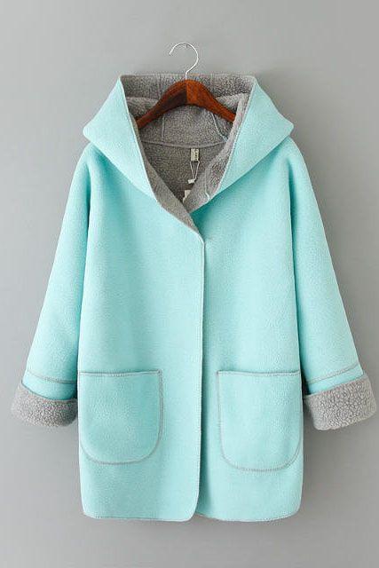 Blue Hooded Long Sleeve Coat