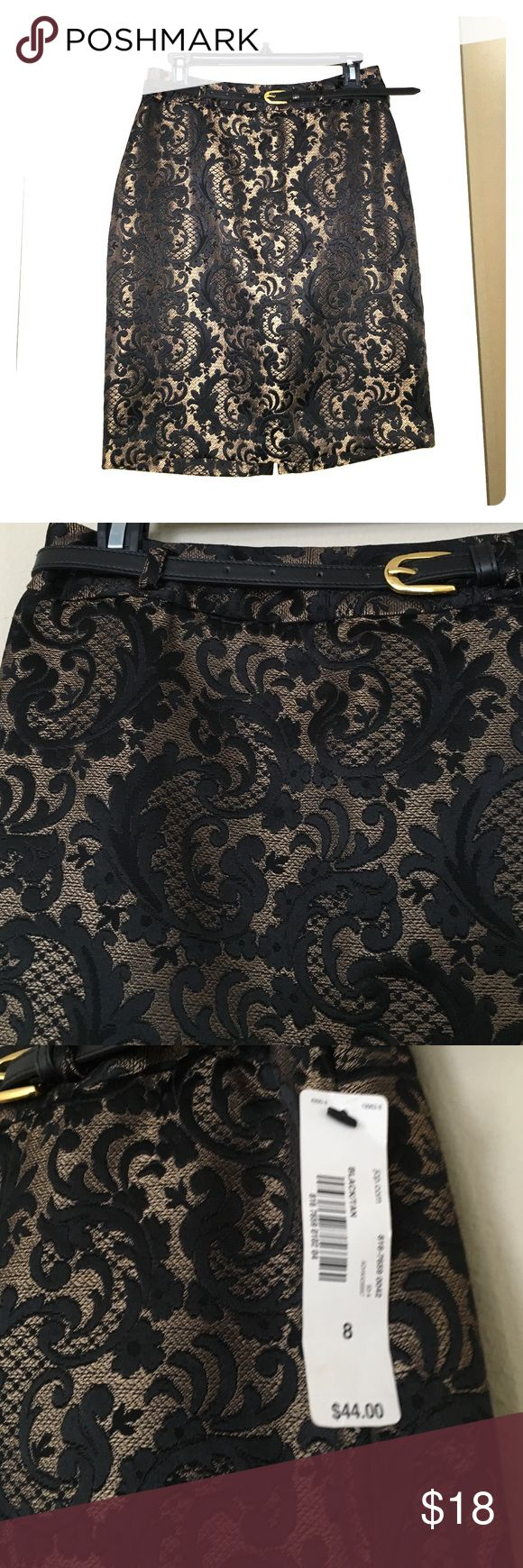 NWT Black/Gold brocade pencil skirt w/Belt Perfect for work, going out, or holiday parties! NWT Never Worn brocade skirt with w black and gold belt included! Modest Slit in back makes it transition from day to night perfectly! Worthington Skirts