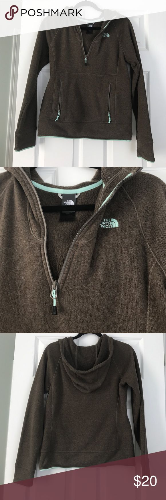 EUC north face jacket Good condition north face pullover hoodie jacket, size small. Brown with mint detailing, half zip with zippered pocket on front. Super comfy and warm, great for layering. North Face Jackets & Coats