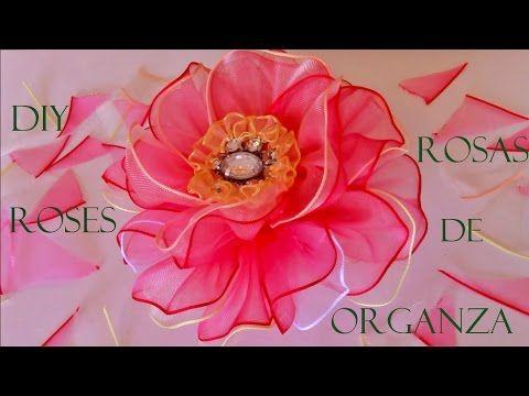DIY rosas matizadas en cintas de organza - organza roses Ribbons - YouTube