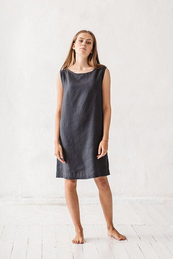 d3b61d15bf8 Shift dress  Linen simple dress  Basic linen dress  Loose dress  Washed linen  dress  Soft linen dress  Linen tunic