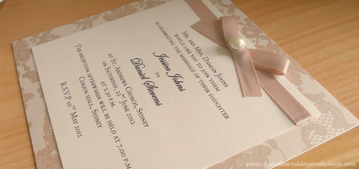 Lace Wedding Invitations - Handmade Wedding Invitations and Matching Stationery ©