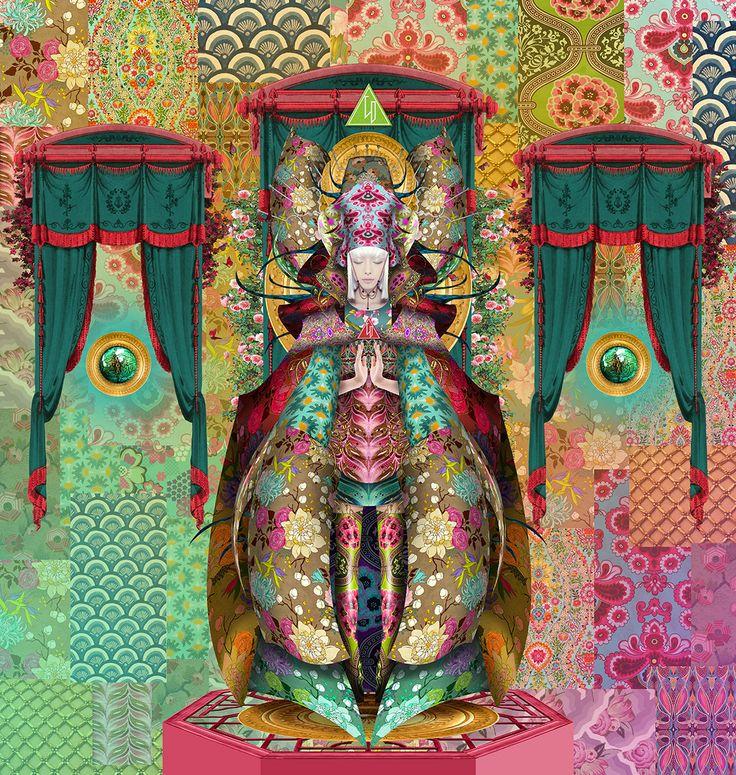 Izanagi -  the goddess of creation and death -  Artwork By Wyrd Daniel C.crown - digital painting - popsurrealism harajuku maximal