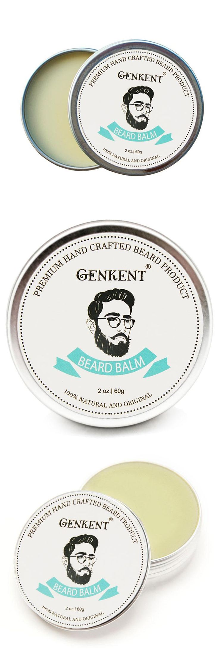 [Visit to Buy] 60g 100% Natural Beard Balm Moustache Growth Product Cream Beard Oil Conditioner Beard Balm and Healthy Moustache Wax #Advertisement