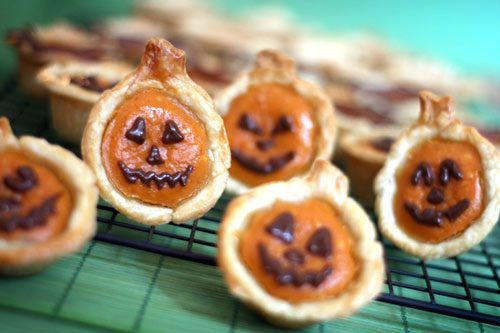 Little Pumpkin Faces!    Pumpkin Pie Bites    Ingredients:    2 refrigerated ready-to roll pie crusts  8 oz. cream cheese, room temperature  1/2 cup sugar  1 cup canned pumpkin  3 eggs  1 teaspoon vanilla  1 teaspoon pumpkin pie spice  Pumpkin-shaped cookie cutter    Optional    1/2 cup chocolate morsels  vegetable oil  re-sealable plastic bags