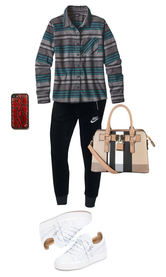 """""""kiss land"""" by leilaprins ❤ liked on Polyvore featuring NIKE, Diophy, Giuseppe Zanotti, Patagonia and plus size clothing"""