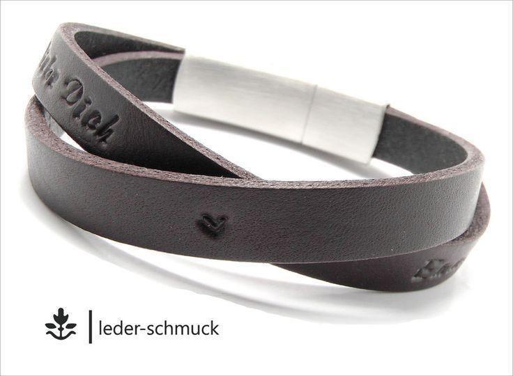 Armbänder - Armband - GRAVUR - Prägung | VINTAGE | dunkelbraun - ein Designerstück von LEDER-Schmuck bei DaWanda