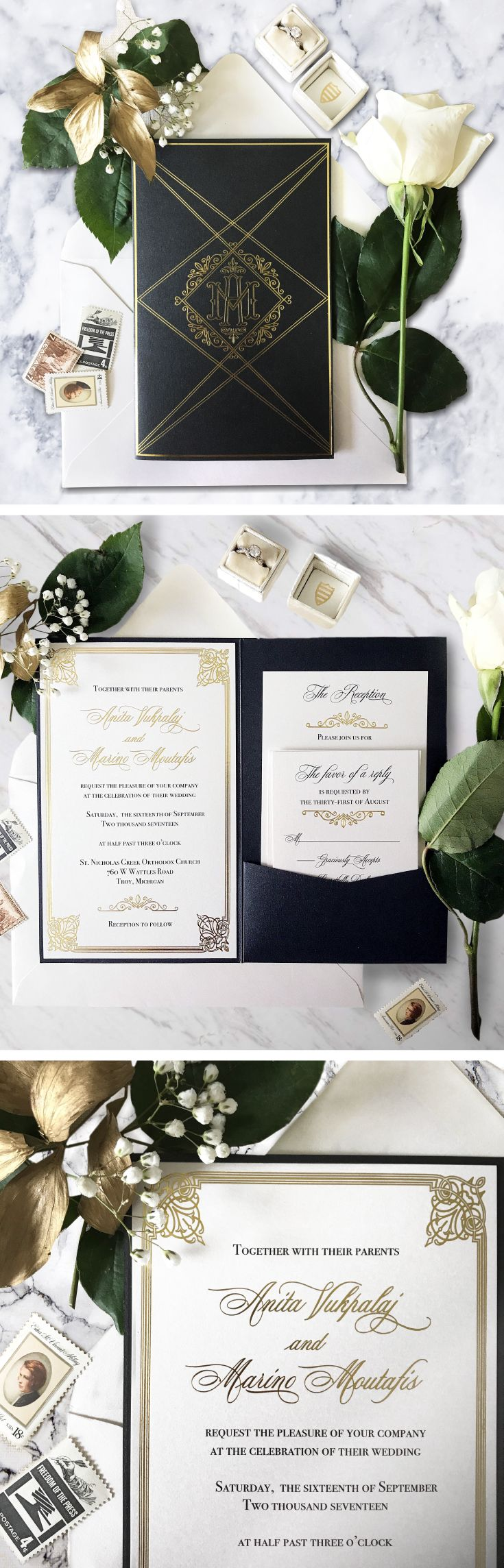 An art deco and Great Gatsby inspired wedding invitation suite designed custom for a couple that loves the roaring twenties era. Gold foil printing on natural white shimmer cardstock and a fully custom invitation pocket in a black shimmer card stock.