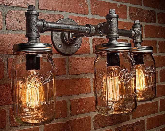 Rustic Industrial Modern Mason Jar Lights Vanity Light: Industrial Light -Light