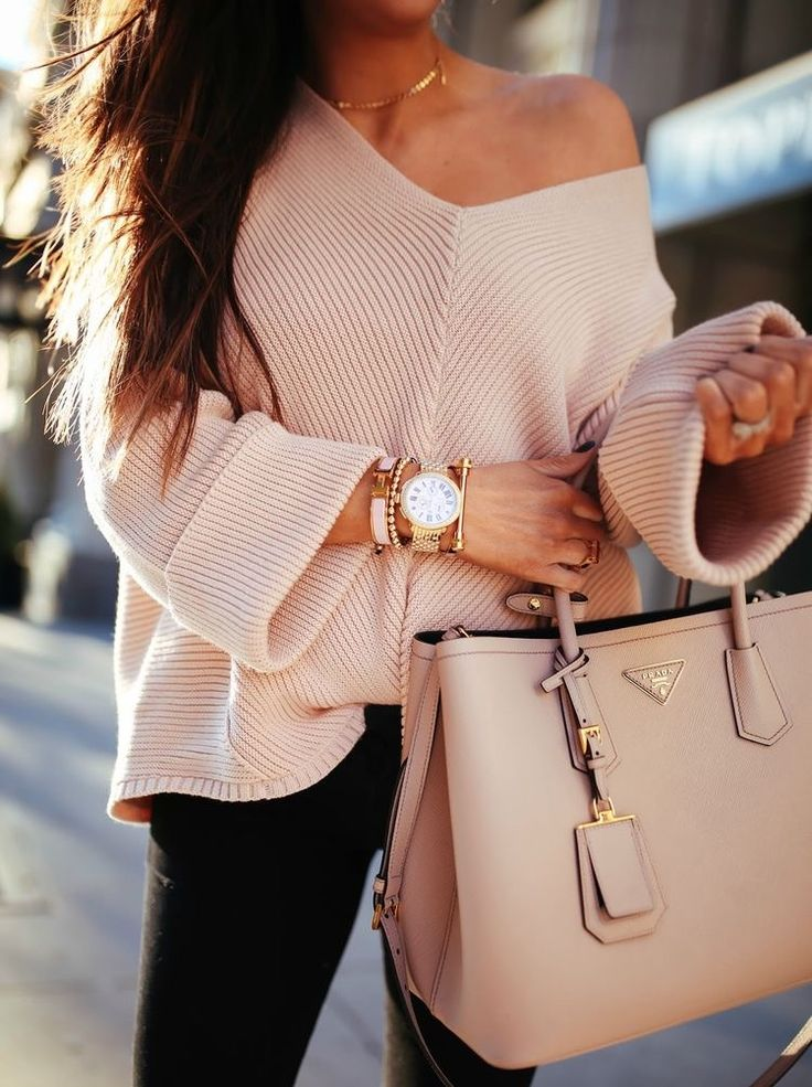 Nude + off the shoulder sweater + watch + accessories + bag // Pinterest: pearlxoxoxo