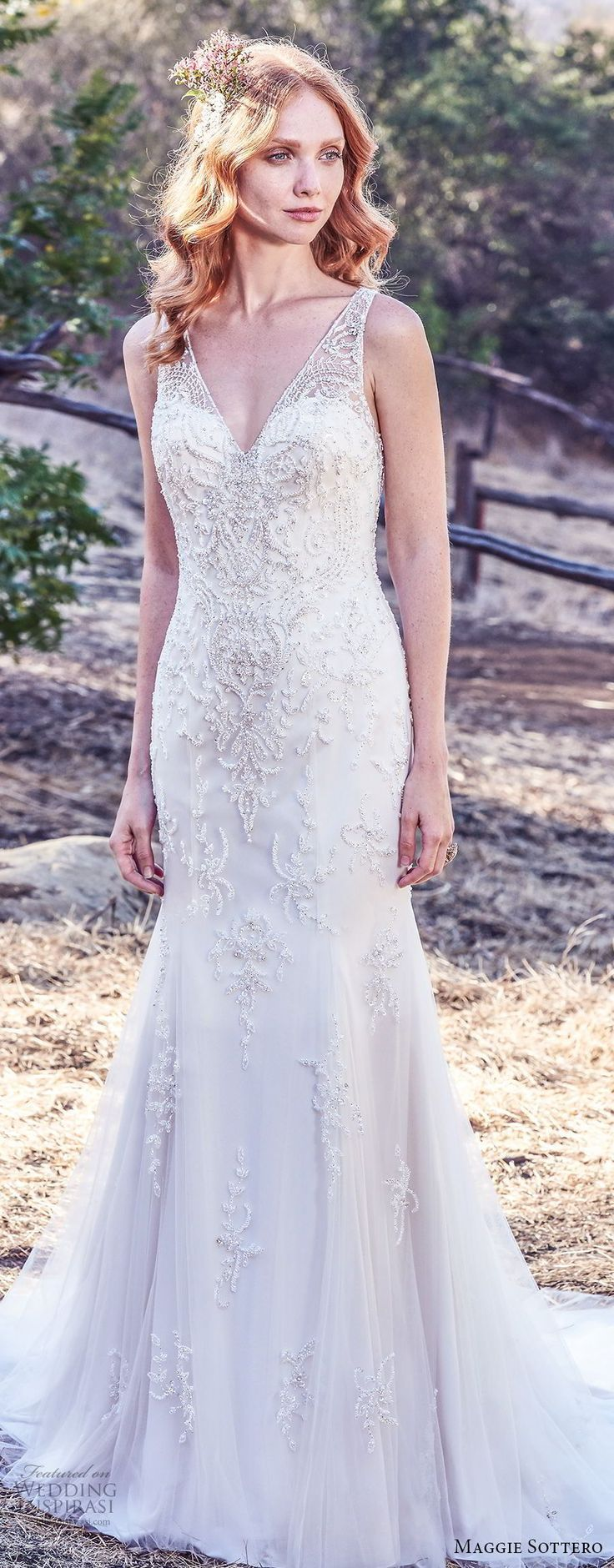Maggie Sottero Herbst 2017 Braut ärmellos mit Trägern V-Ausschnitt Highly Shear …  – Hochzeitskleider