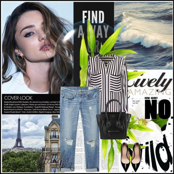 """Untitled #35"" by anett-keberlova on Polyvore #polyvore #outfit #paris #mirandakerr #stripes #iheart #lagarconne #zara #heel #celine #boyfriendjean"