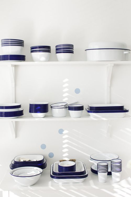 Blue and white kitchen ware - enamel