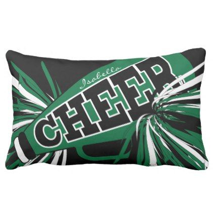 Cheer Megaphone - Dark Green Cheerleader Lumbar Pillow - home gifts cool custom diy cyo