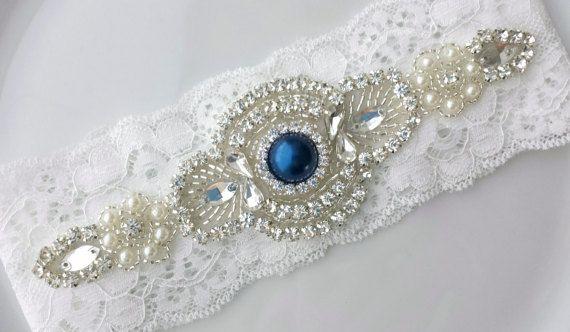 Blue Garter White Rhinestone Pearl Brooch by TheTossedBouquet