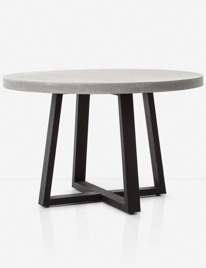 Maceo Modern Classic Round Composite Stone Metal Dining Table 48 Inch In 2020 Stone Dining Table Metal Dining Table Concrete Dining Table