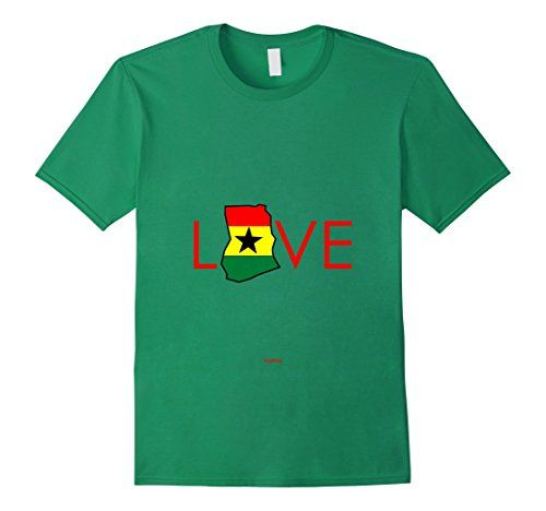 Men's and Women's Love Ghana Flag Map Kelly Green Love Ghana Flag Map Shirt. For lovers of Ghanaian culture.