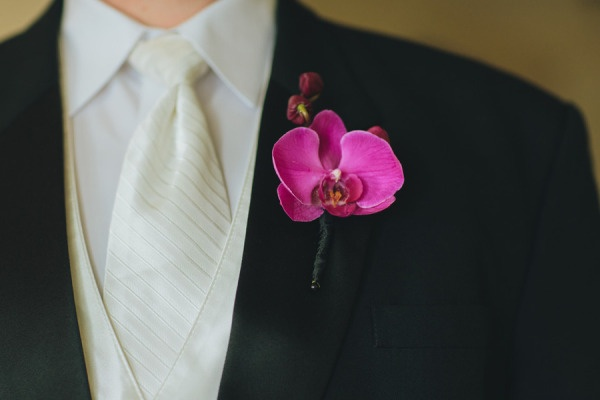 pink orchid boutonniere + white striped tie - Chicago Wedding from Redwall Photo