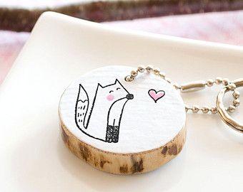 Fox Keychain Wooden Keychain Eco-Friendly Gift Tree Branch Slice Reclaimed Wood Keychain Animal Keyring Handmade Gift for Animal Lover
